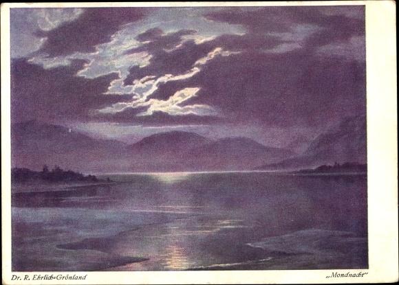 Künstler Ak Ehrlich, R., Mondnacht, Landschaftsansicht bei Nacht, Berge