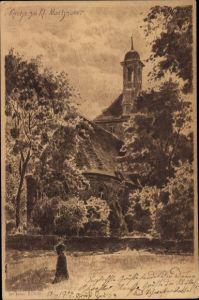 Künstler Ak Jander, Carl, Kleinmachnow in Brandenburg, Partie an der Kirche, Glockenturm