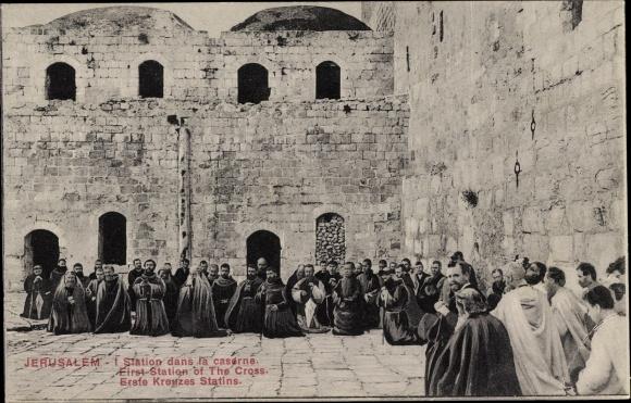 Ak Jerusalem Israel, I. Station dans la caserne, Erste Kreuzstation, Geistliche
