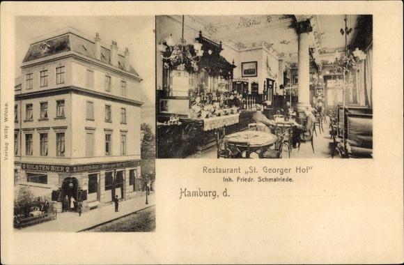 Ak Hamburg Mitte St. Georg, Restaurant St. Georger Hof, Inh. Friedr. Schmalriede, Außenansicht, Bar