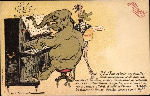 Künstler Ak Vimar, A., Reklame Maggi, Elefant am Klavier, singender Strauß
