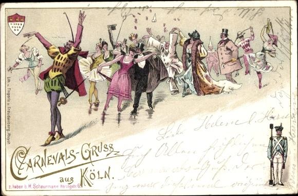 Litho Köln am Rhein, Karneval, Kostümierte beim Tanz, Wappen, Stadtwache