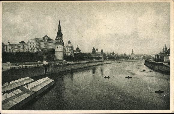 Ak Moskau Russland, Kreml und Moskwa, Flusspartie, Panorama
