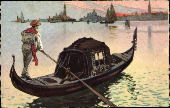 Künstler Ak Venezia Venedig Veneto, La Gondola, Gondoliere mit Gondel vor der Stadt