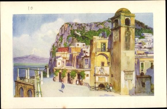 Künstler Ak Capri Neapel Campania, Il Vesuvio dalla terrazza della Funicolare