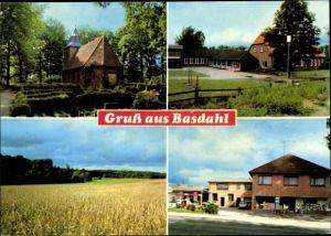 Ak Basdahl Landkreis Rotenburg Wümme Niedersachsen, Kirche, Felder, Schule, Geschäft