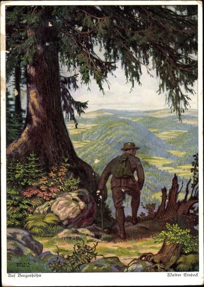 Künstler Ak Einbeck, Walter, Auf Bergeshöhn, Wanderer unter einem Baum
