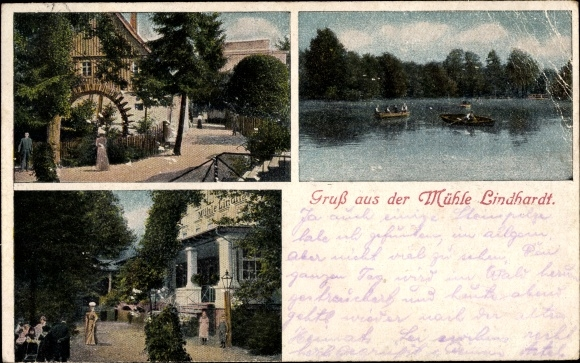 Ak Lindhardt Naunhof in Sachsen, Mühle Lindhardt, Straßenansicht, Mühlenrad, Eingang, Seepartie