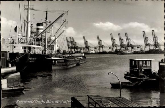 Ak Emden in Ostfriesland, Binnenhafen, Lastkähne, Schiffe