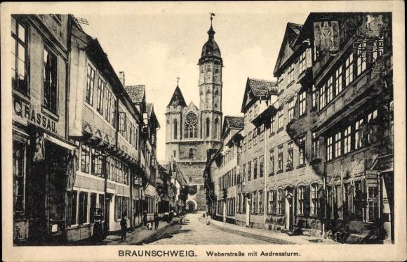 Ak Braunschweig in Niedersachsen, Weberstraße, Blick auf den Andreasturm
