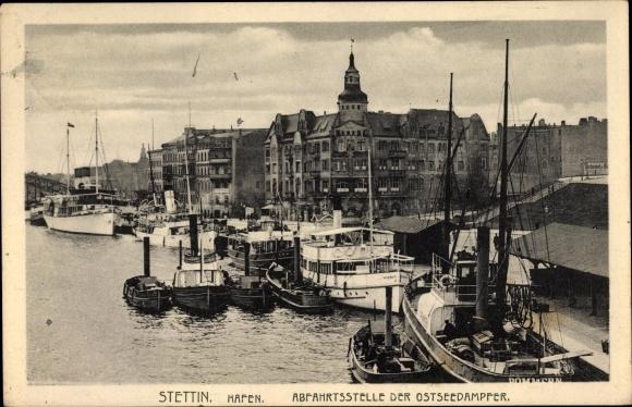 Ak Szczecin Stettin Pommern, Hafen, Abfahrtsstelle der Ostseedampfer