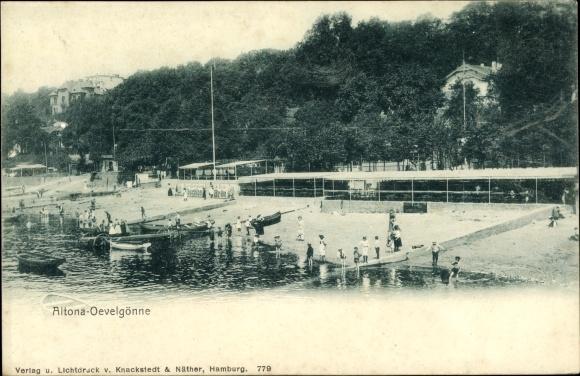 Ak Hamburg Altona Othmarschen, Övelgönne, Strandpartie
