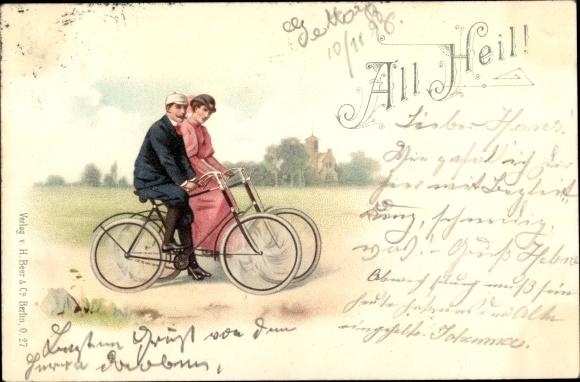 Litho All Heil, Fahrräder, Radfahrer, Liebespaar