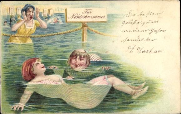 Litho Junge Frau im Badekostüm, Dekolleté, Mann, Schild für Nichtschwimmer