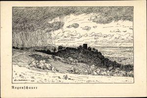Künstler Ak Volkmann, Hans von, Regenschauer, Landschaftsansicht mit Burgruine