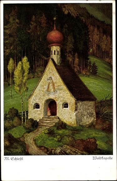 Künstler Ak Schiestl, Matthäus, Blick auf eine Waldkapelle