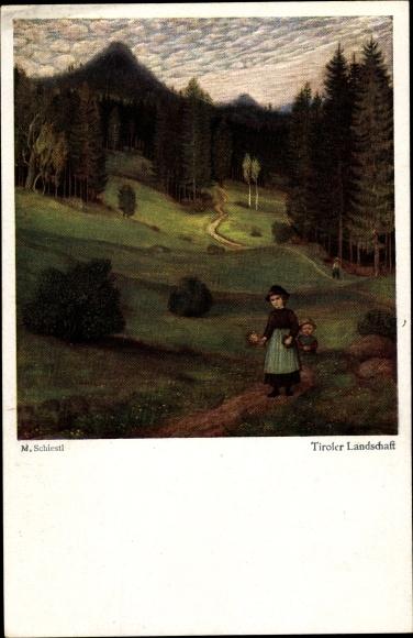 Künstler Ak Schiestl, Matthäus, Tiroler Landschaftsansichten, Frau mit Kind
