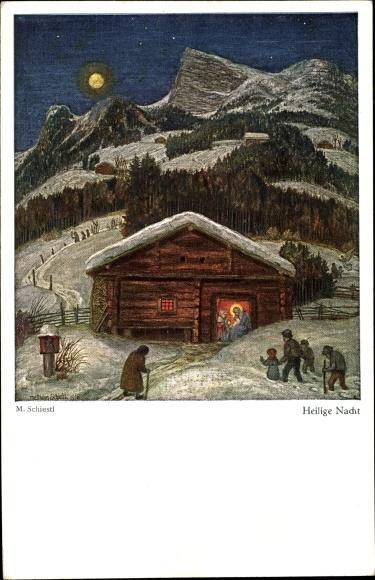 Künstler Ak Schiestl, Matthäus, Heilige Nacht, Christuskind im Stall
