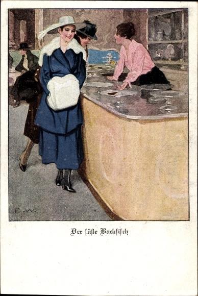 Künstler Ak Wennerberg, Bruno, Der süße Backfisch, Frau mit Hut