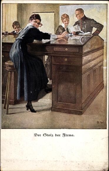 Künstler Ak Wennerberg, Bruno, Der Stolz der Firma, Frau am Schreibtisch