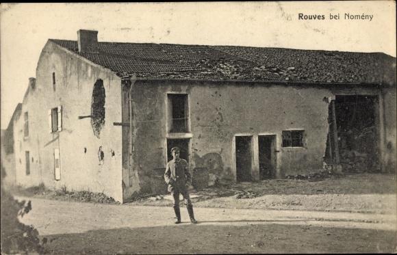Ak Rouves Lothringen Meurthe et Moselle, Kriegszerstörungen, I. WK