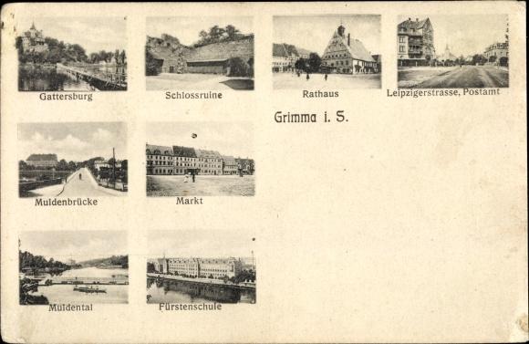 Ak Grimma in Sachsen, Gattersburg, Schlossruine, Rathaus, Postamt, Muldenbrücke, Marktplatz