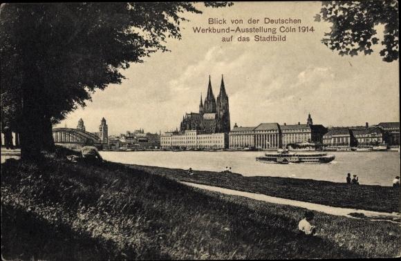Ak Köln am Rhein, Deutsche Werkbund Ausstellung 1914, Blick über den Rhein, Gedicht von Brogsitter