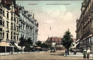 Ak Düsseldorf am Rhein, Graf Adolfstraße mit Hauptbahnhof