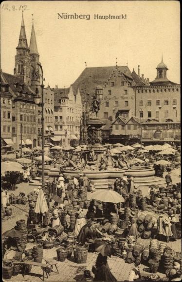 Ak Nürnberg in Mittelfranken Bayern, Partie auf dem Hauptmarkt