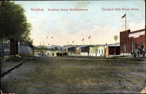 Ak Windhuk Namibia, Deutsch Südwestafrika, Westliche Kaiser Wilhelmstraße, G. Boysen, Wulff & Co.