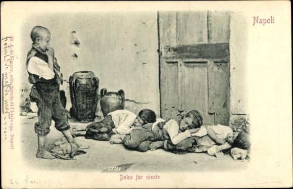 Ak Napoli Neapel Campania, Dolce far niente, schlafende Kinder