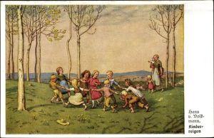 Künstler Ak Volkmann, Hans von, Kinderreigen, tanzende Kinder, Frau mit Baby