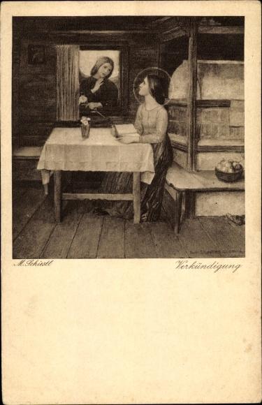 Künstler Ak Schiestl, Matthäus, Verkündigung, Frau mit Heiligenschein