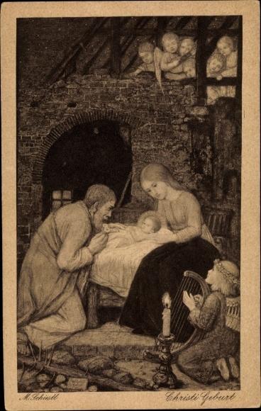 Künstler Ak Schiestl, Matthäus, Christi Geburt, Engel mit Harfe