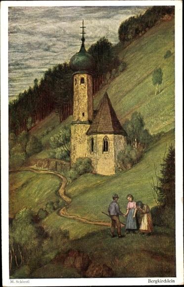 Künstler Ak Schiestl, Matthäus, Bergkirchlein, Landschaftsansicht, Bauern