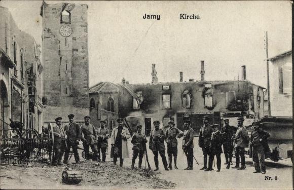 Ak Jarny Lothringen Meurthe et Moselle, Kirche, Kriegszerstörungen, I. WK