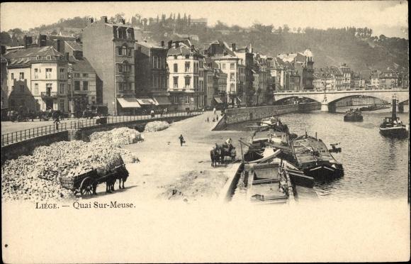 Ak Liège Lüttich Wallonien, Quai sur Meuse