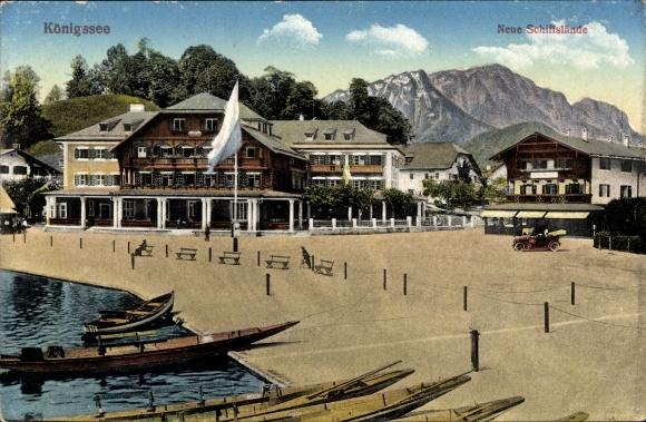 Ak Schönau am Königssee, Neues Schiffsgelände, Blick auf die Hotels, Promenade, Berge
