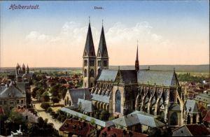 Ak Halberstadt in Sachsen Anhalt, Totalansicht, Dom