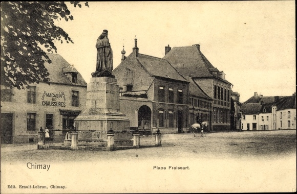 Ak Chimay Wallonien Hennegau, Place Froissart, Magasin de Chaussures