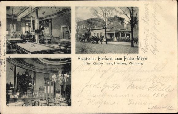 Ak Hamburg Mitte St. Pauli, Englisches Bierhaus zum Porter Meyer, früher Charles Neale, Billardtisch
