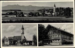 Ak Prutting in Oberbayern, Panorama vom Ort u. Gebirge, Schule, Kirche, Gasthof zur Post