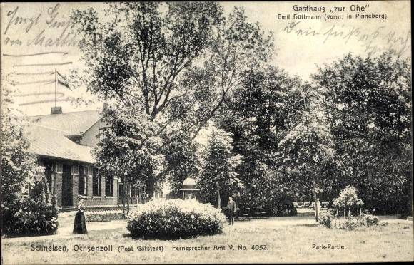 Ak Hamburg Eimsbüttel Niendorf, Gasthaus zur Ohe, Bes. Emil Hüttmann, vorm. in Pinneberg, Parkpartie