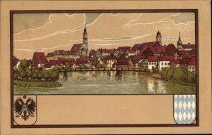 Passepartout Wappen Litho, Donauwörth in Schwaben, Panorama vom Ort