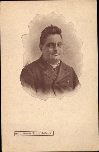 Ak Tiroler Schriftsteller und Priester Anton Müller, Bruder Willram, Kneifer