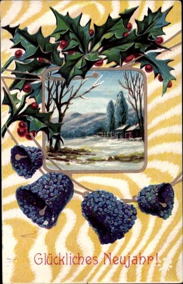 Ak Glückwunsch Neujahr, Glocken, Stechpalmenzweig, Winterszene