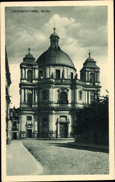 Ak Jablonné v Podještědí Deutsch Gabel Reg. Reichenberg, Kirche