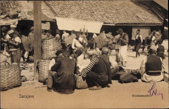 Ak Sarajevo Bosnien Herzegowina, Wochenmarkt