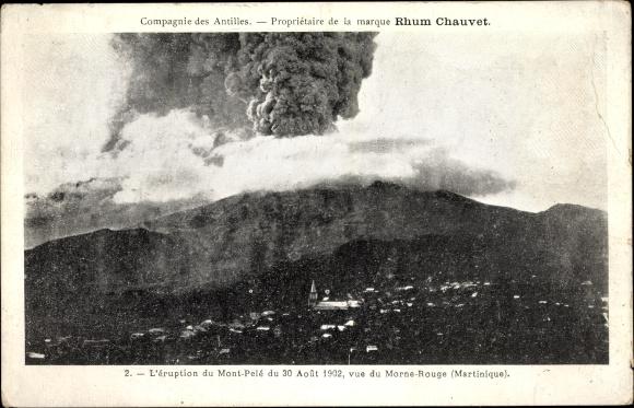 Ak St. Pierre Martinique, L'Eruption du Mont Pele du 30 Aout 1902, Vue du Morne Rouge
