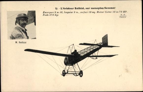 Ak L'Aviateur M. Bathiat, sur monoplan Sommer, Pilot im Flugzeug, Portrait